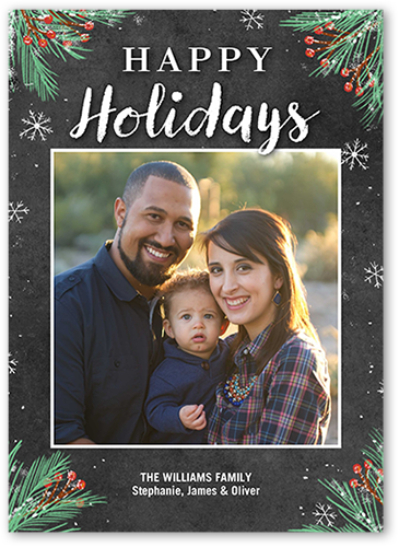 Happy Framed Foliage Holiday Card, Square Corners