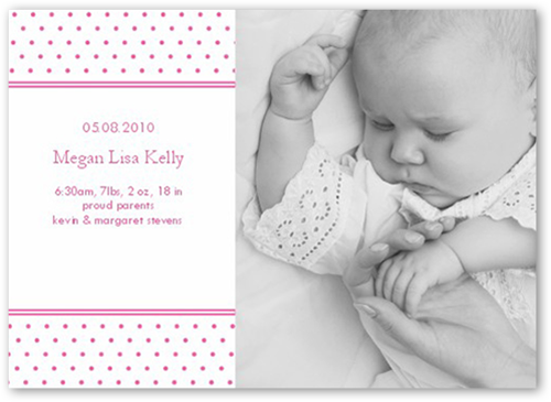 Sprinkle Stripe Pink Birth Announcement