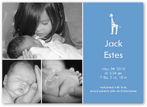 Giraffe Gallery Blue Birth Announcement
