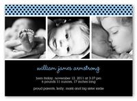 licorice dot blue birth announcement 5x7 photo