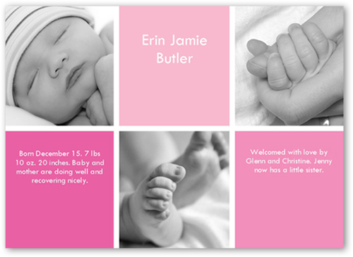 Checkers Rose Birth Announcement, Square Corners