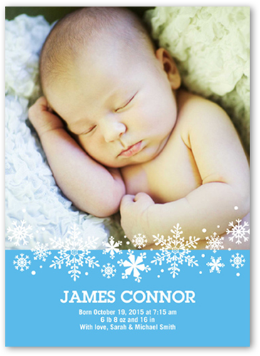 Sweet Flurries Boy Birth Announcement, Square Corners