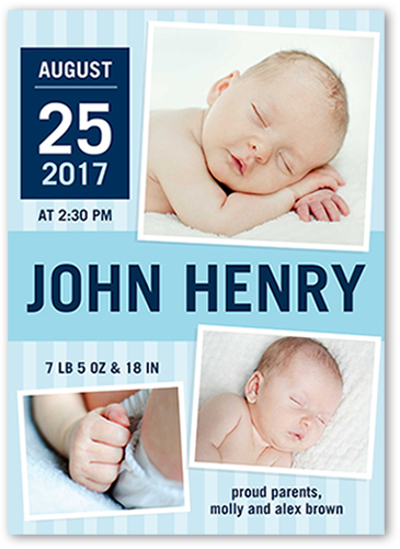 Newborn Greetings Boy Birth Announcement