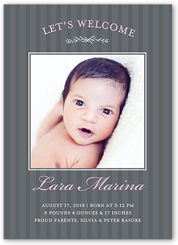 Striped Welcome Girl Birth Announcement