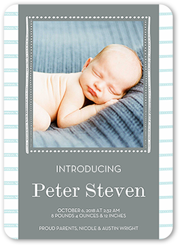 Striped Newborn Boy Birth Announcement, Rounded Corners