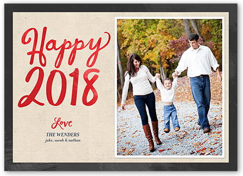 Joyous Watercolor New Year's Card, Square Corners