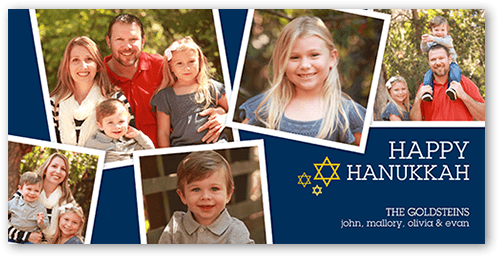 Happy Little Frames Hanukkah Card, Square Corners