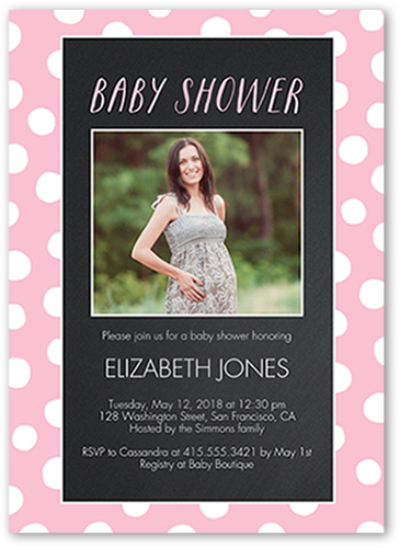 e96da092b Chalkboard Dots GIrl 5x7 Baby Shower Invitation Cards
