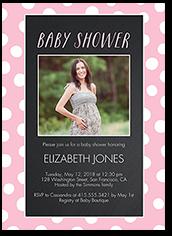 chalkboard dots girl baby shower invitation 5x7 photo