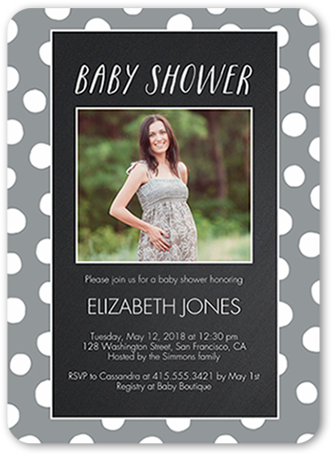 Chalkboard Dots Baby Shower Invitation, Rounded Corners