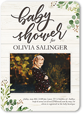 wooden floral baby shower invitation