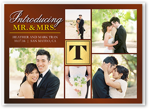 Polished Introduction Wedding Announcement, Square Corners