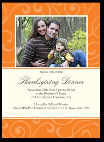 Posh Pumpkin Swirl Fall Photo Card, Square Corners