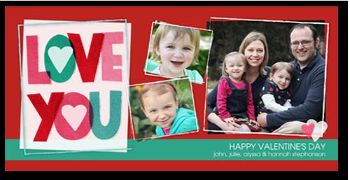 Love You Collage Valentine's Card, Square Corners