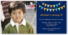 peppy pennants blue birthday invitation 4x8 photo