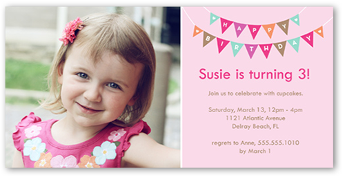 Peppy Pennants Pink Birthday Invitation