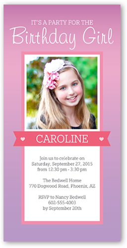 Party Time Banner Birthday Invitation