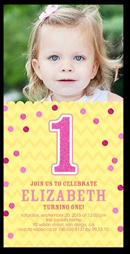 Glitter Confetti Girl Birthday Invitation, Square Corners