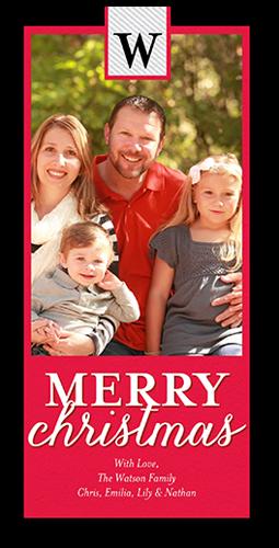 Simple Festive Monogram Christmas Card, Rounded Corners