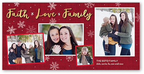 Faith Love And Family Religious Christmas Card, Square Corners