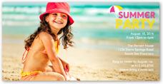 summer party summer photo card 4x8 photo