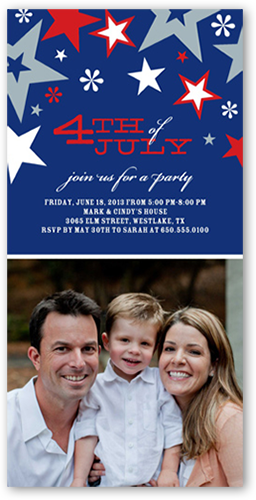 red white blue 4x8 photo card party invitations shutterfly