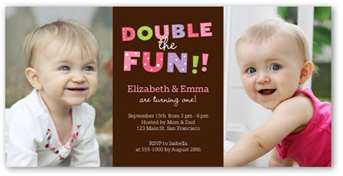 Fun For Two X Photo Card Twin Birthday Invitations Shutterfly - Birthday invitation cards twins
