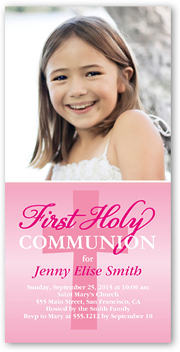 Heavenly Cross Girl Communion Invitation, Square Corners