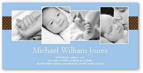 Clever Cadence Blue Birth Announcement