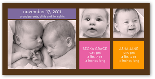Modern Twin Girls Birth Announcement, Square Corners