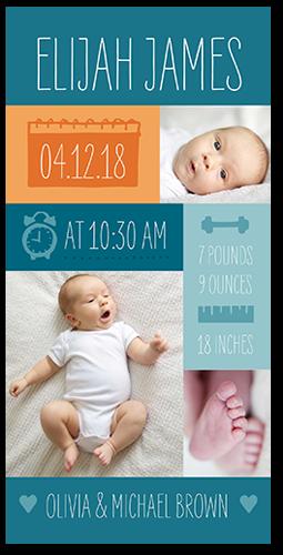 Info Blocks Boy Birth Announcement
