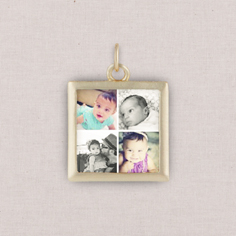gold gallery of four photo charm