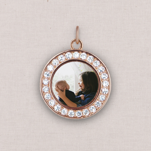 Rose Gold Square Photo Charm, Crystal Halo, White