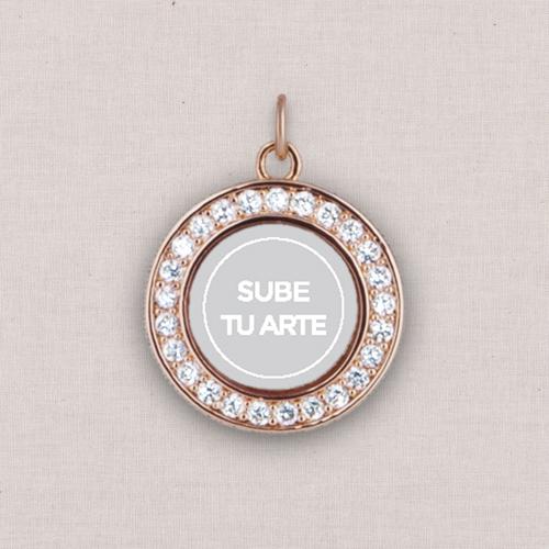 Rose Gold Sube Tu Arte Photo Charm, Crystal Halo, White
