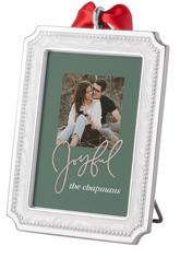 rustic joyful script picture frame ornament