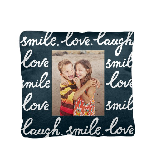 Smile Laugh Love Pillow, Cotton Weave, Pillow (Ivory), 16 x 16, Single-sided, DynamicColor