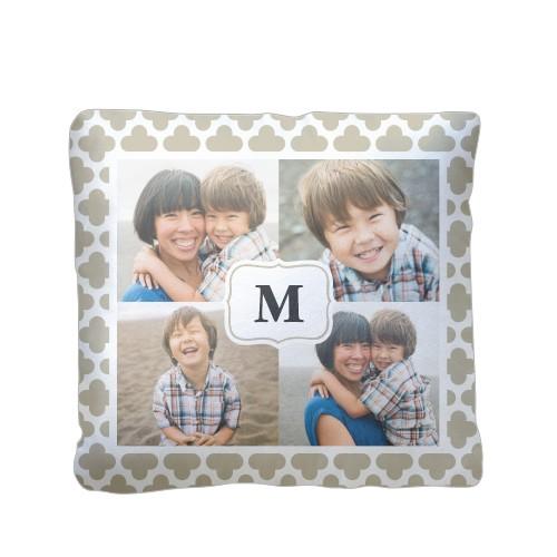 Trellis Monogram Pillow, Plush, Pillow (Plush), 16 x 16, Single-sided, Beige