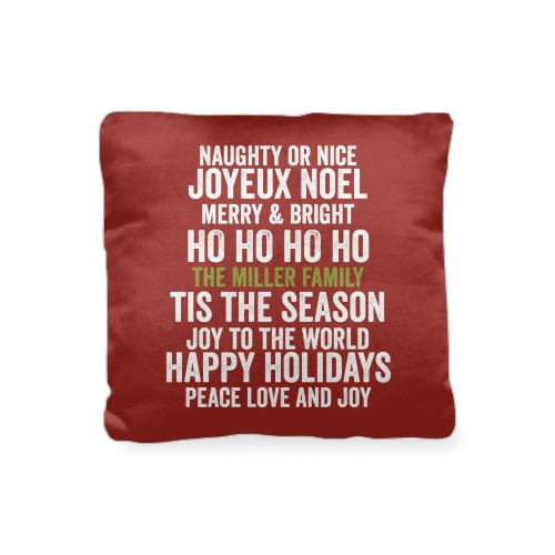 In Your Words Holiday Pillow, Cotton Weave, Pillow (Black), 16 x 16, Single-sided, Red