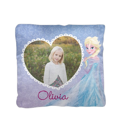 Disney Frozen Elsa Pillow, Cotton Weave, Pillow (Black), 16 x 16, Single-sided, Purple