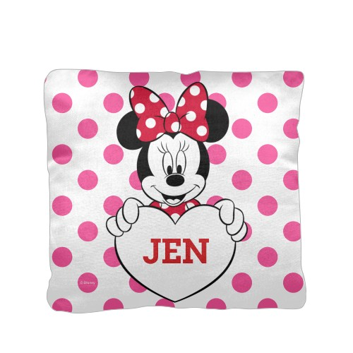 Disney Minnie Mouse Pillow, Cotton Weave, Pillow (Ivory), 16 x 16, Single-sided, Pink