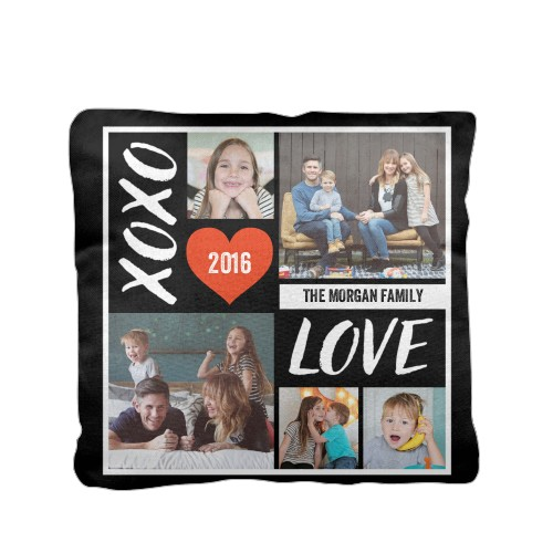 XOXO Love Grid Pillow, Cotton Weave, Pillow, 16 x 16, Double-sided, Black