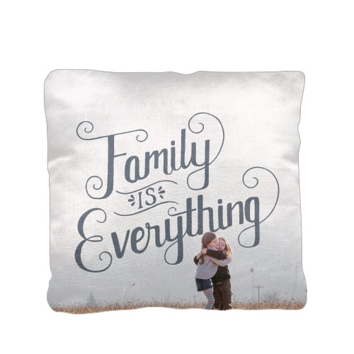 Family is Everything Pillow, Cotton Weave, Pillow, 16 x 16, Double-sided, Grey