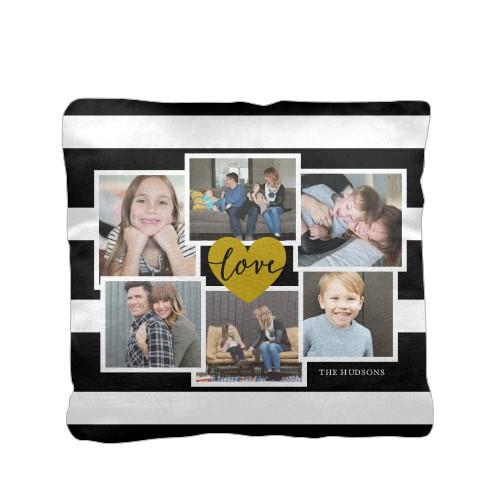 Love Stripes Pillow, Cotton Weave, Pillow (Ivory), 16 x 16, Single-sided, Black