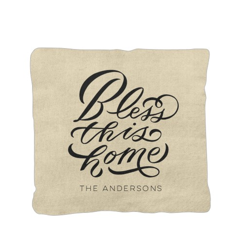 Bless This Home Pillow, Cotton Weave, Pillow (Ivory), 16 x 16, Single-sided, Beige