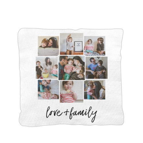 Love and Family Pillow, Cotton Weave, Pillow, 16 x 16, Double-sided, White