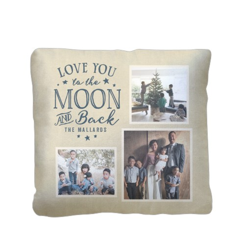 To the Moon and Back Script Pillow, Sherpa, Pillow (Sherpa), 16 x 16, Single-sided, Beige