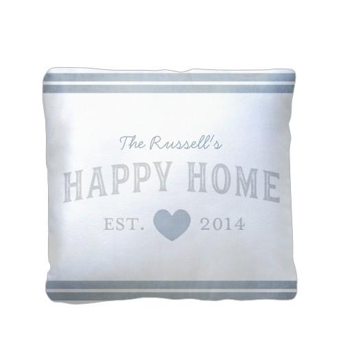 Happy Home Pillow, Sherpa, Pillow (Sherpa), 16 x 16, Single-sided, Grey