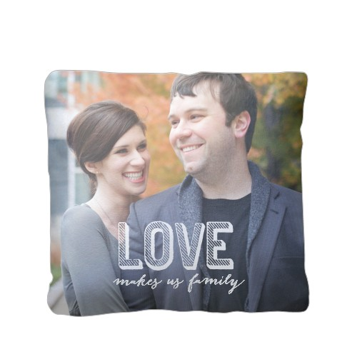 Love Makes Family Pillow, Sherpa, Pillow (Sherpa), 16 x 16, Single-sided, White