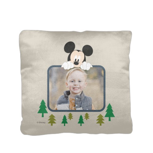 Disney Mickey Adventure Pillow, Cotton Weave, Pillow, 16 x 16, Double-sided, Beige
