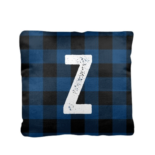 Adventure Buffalo Plaid Monogram Pillow, Cotton Weave, Pillow (Ivory), 16 x 16, Single-sided, Black